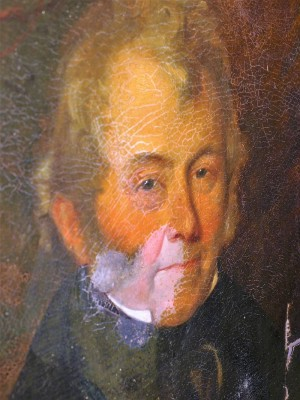 Detail of a 19th century portrait of a Scotsman during varnish removal.